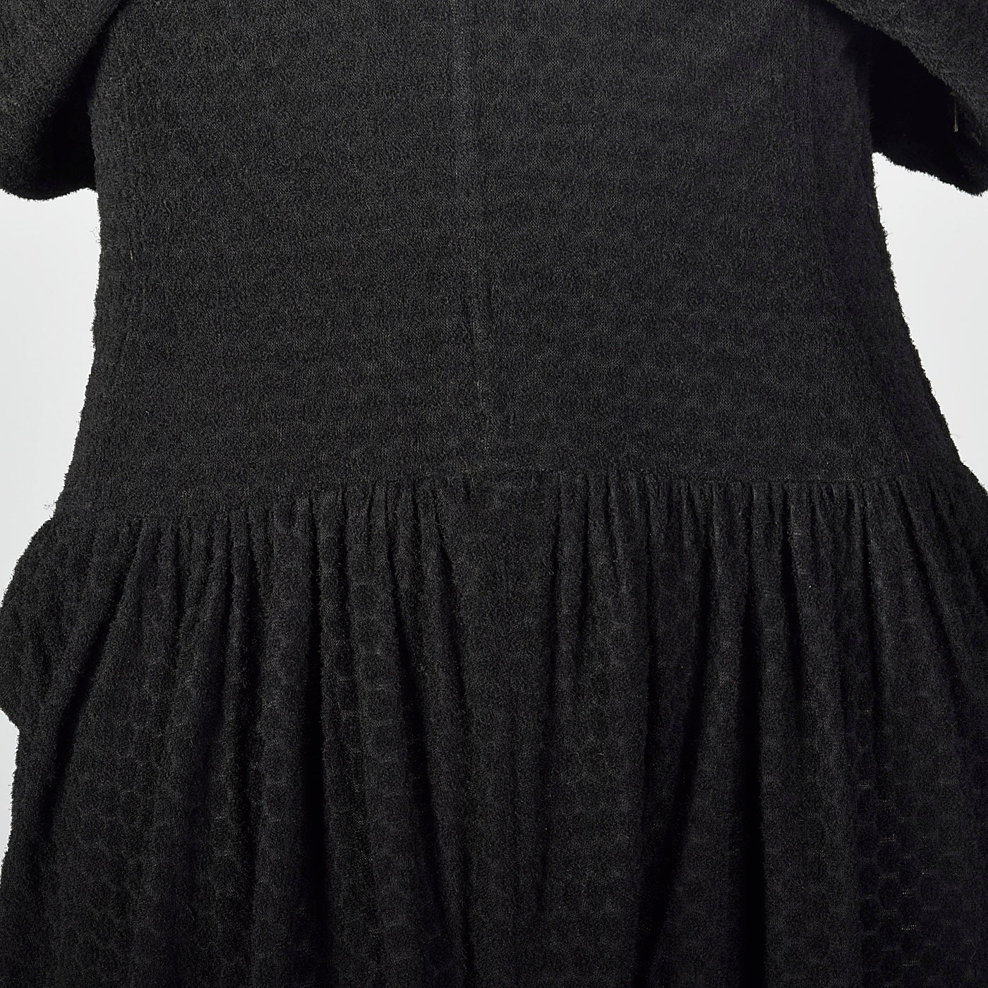 1950s Black Dolman Sleeve Dress with Unique Texture