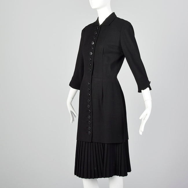 Small 1950s Black Dress with Pleated Underlay
