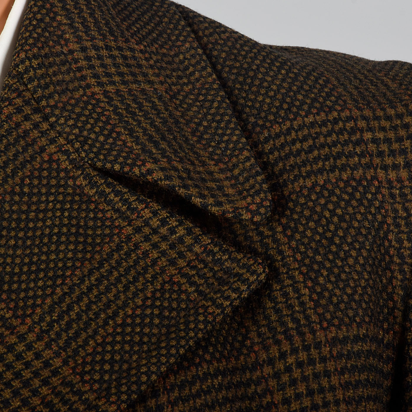 1970s Mens Brown Plaid Coat