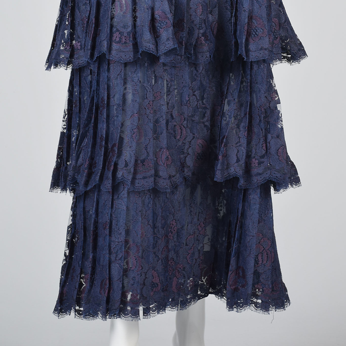 1970s Scaasi Boutique Navy Blue Formal Lace Evening Dress