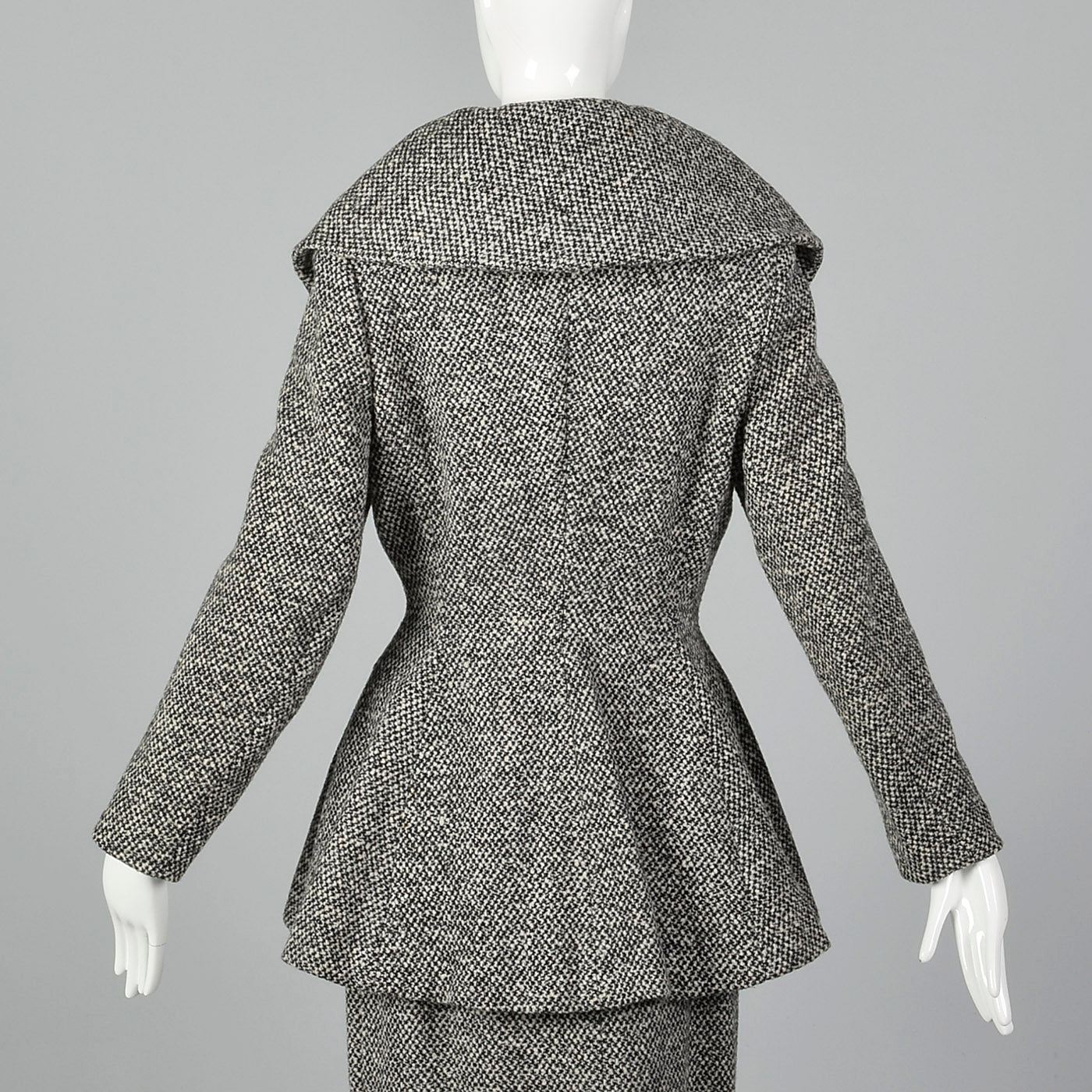 1950s Wool Tweed Skirt Suit with Sculptable Portrait Collar