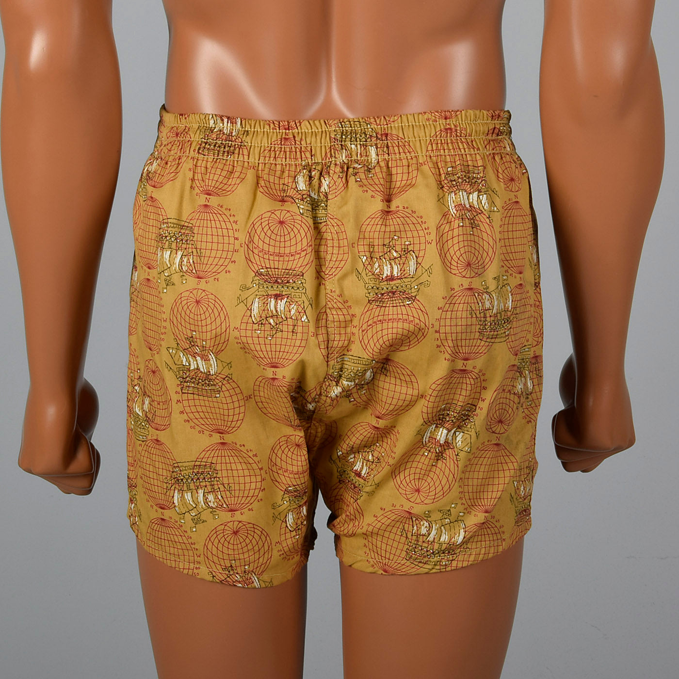 1950s Travel Themed Novelty Swim Trunks