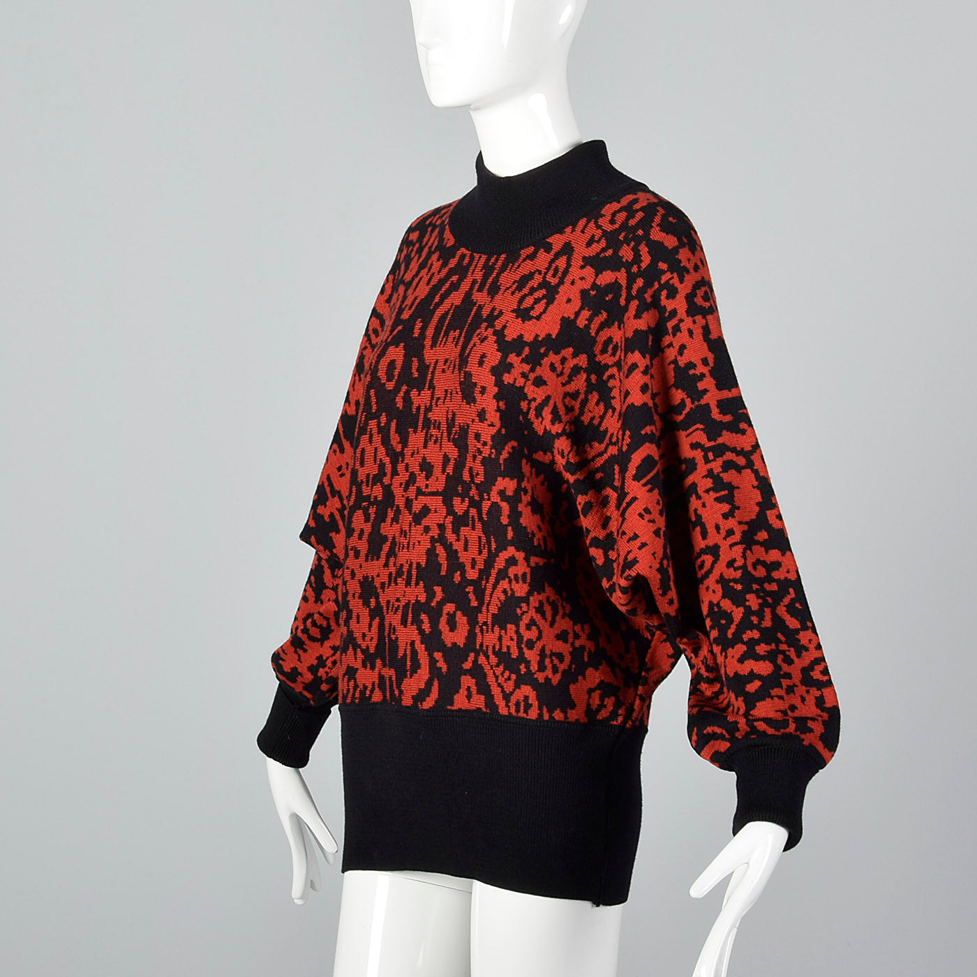 1980s Jaeger Oversized Abstract Sweater in Red & Black
