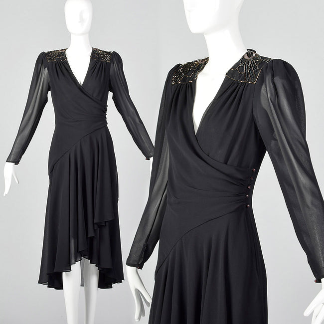 1980s Casadei Black Wrap Dress