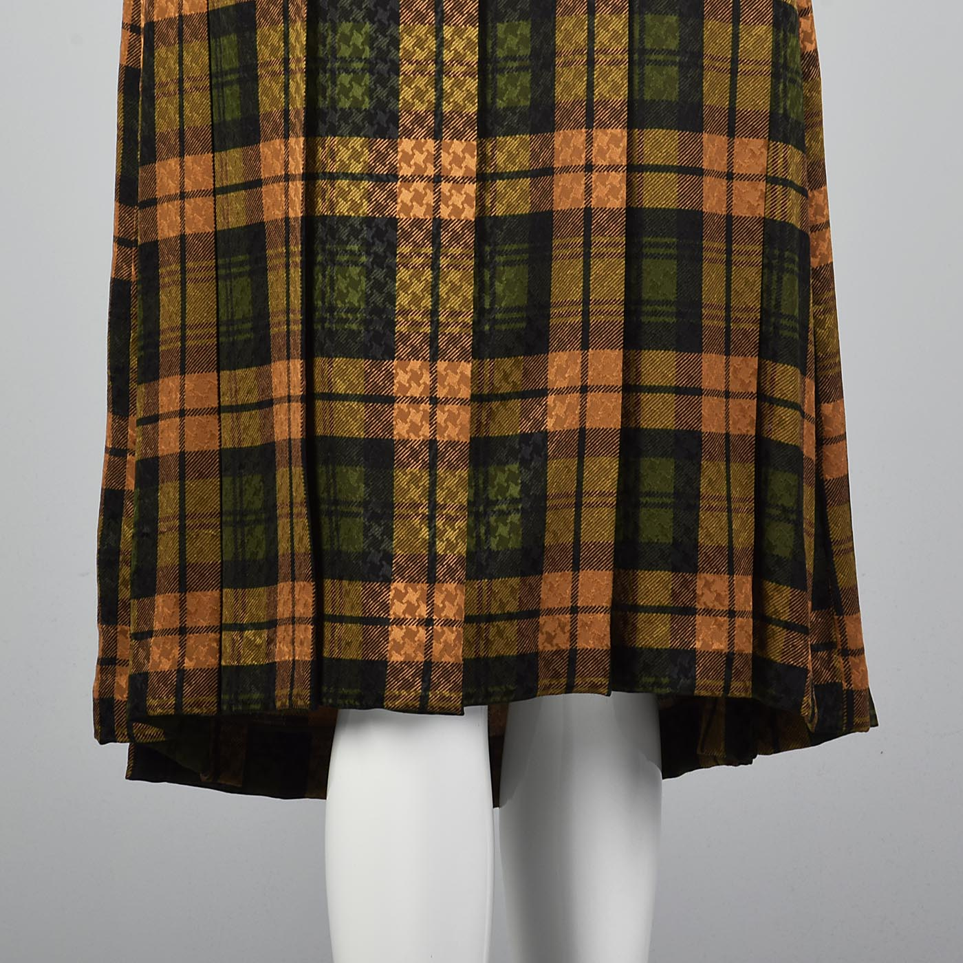 Galanos Pleated Silk Dress in Plaid with Bishop Sleeves