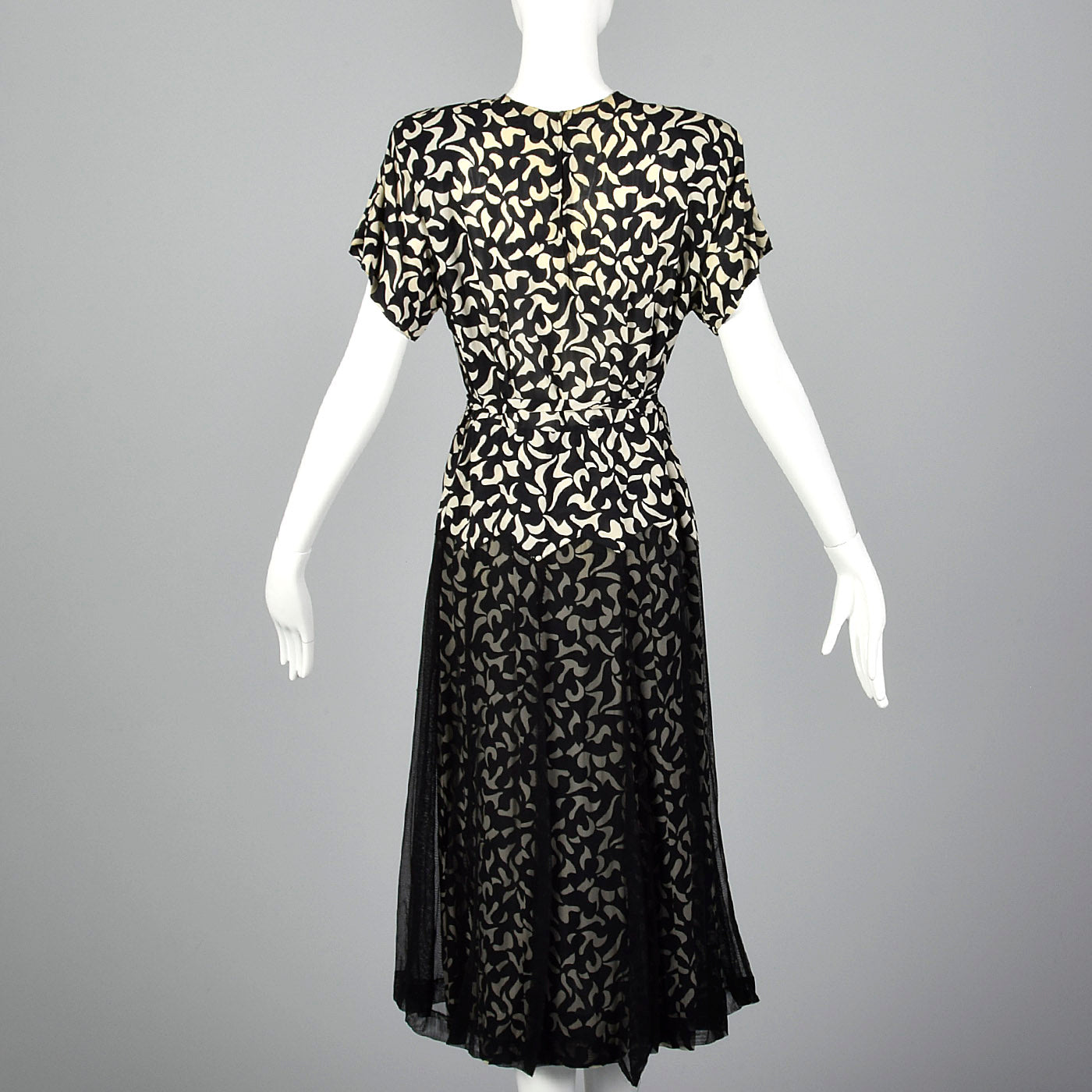 1940s Black and White Print Dress with Sheer Overlay