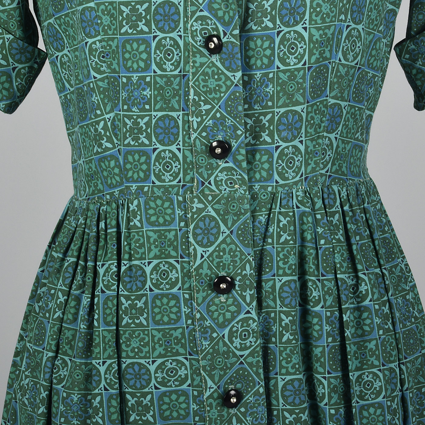 1950s Teal Print Cotton Day Dress