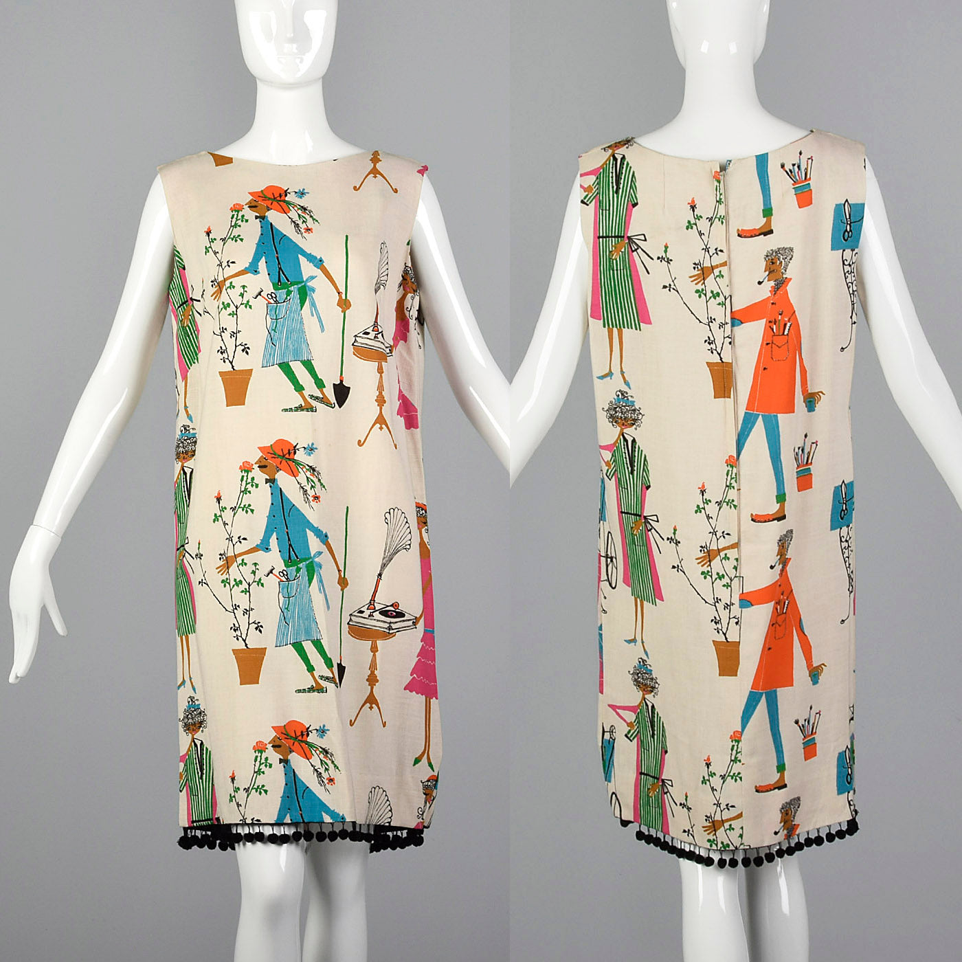 1960s Deadstock Novelty Print Shift Dress with Pom Pom Hem