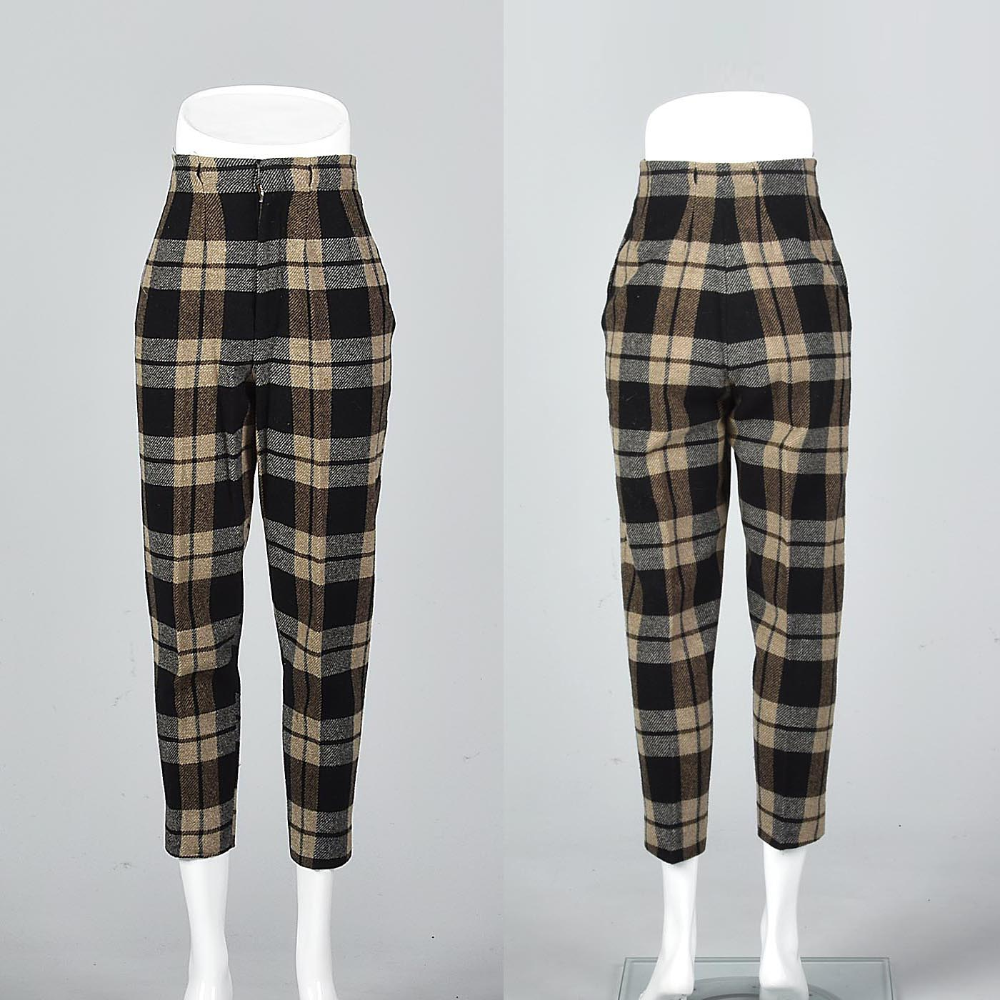 1960s Wool Cigarette Pants in Black and Brown Plaid