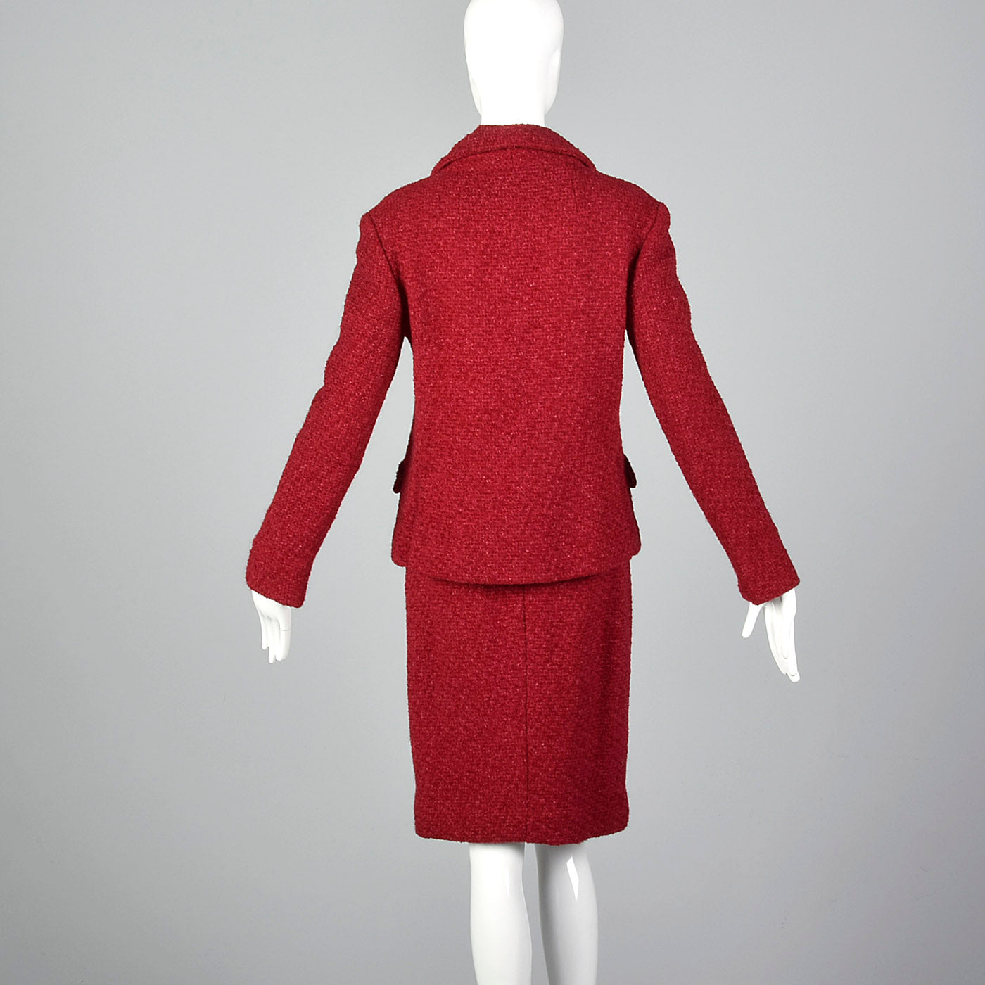 1960s Red Boucle Wool Skirt Suit