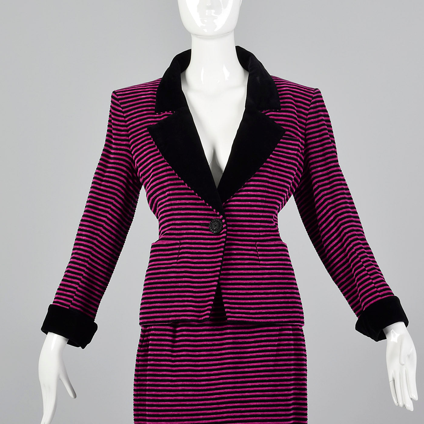 Yves Saint Laurent Rive Gauche Black & Fuchsia Striped Corduroy Skirt Suit