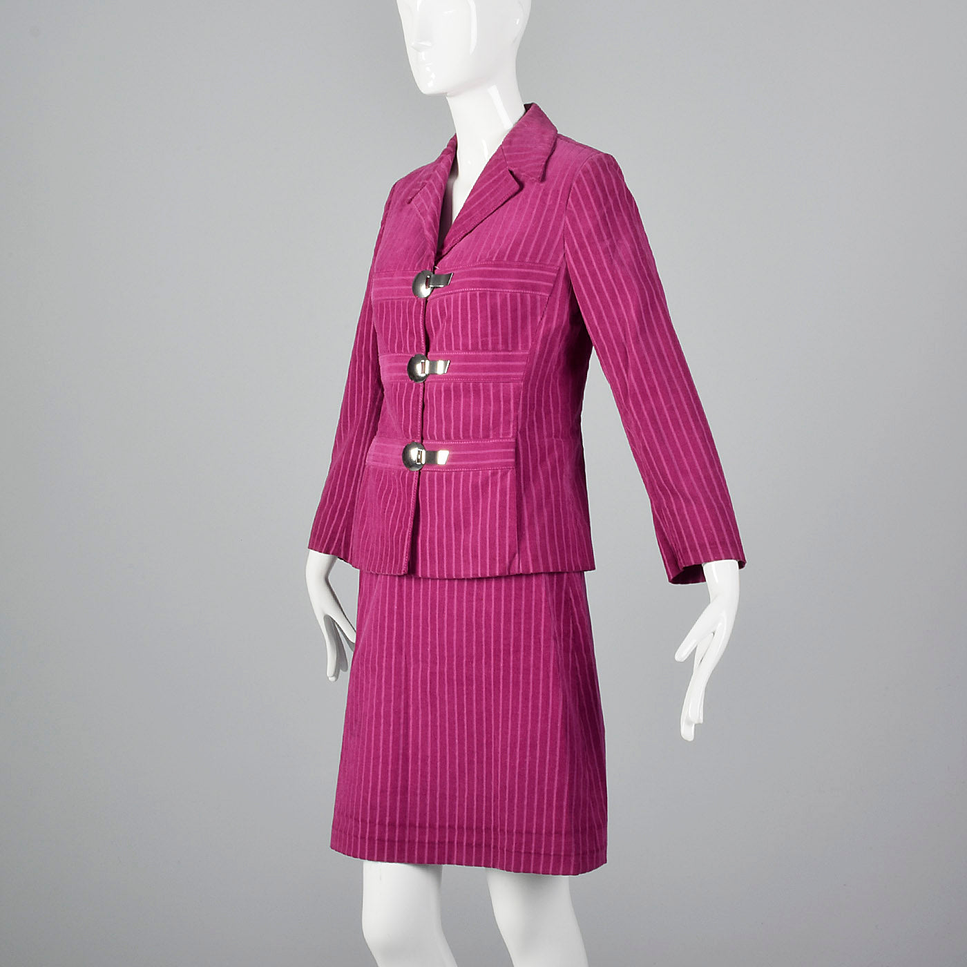 1960s Pink Corduroy Skirt Suit with Mod Silver Clasp Closures