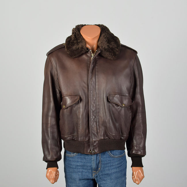 Large Mens Schott Brown Leather Jacket