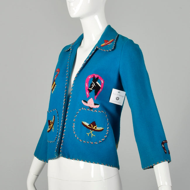 XXS 1950s Souvenir Mexican Tourist Jacket Blue Teal Embroidered Horseshoe Donkey Wool Jacket