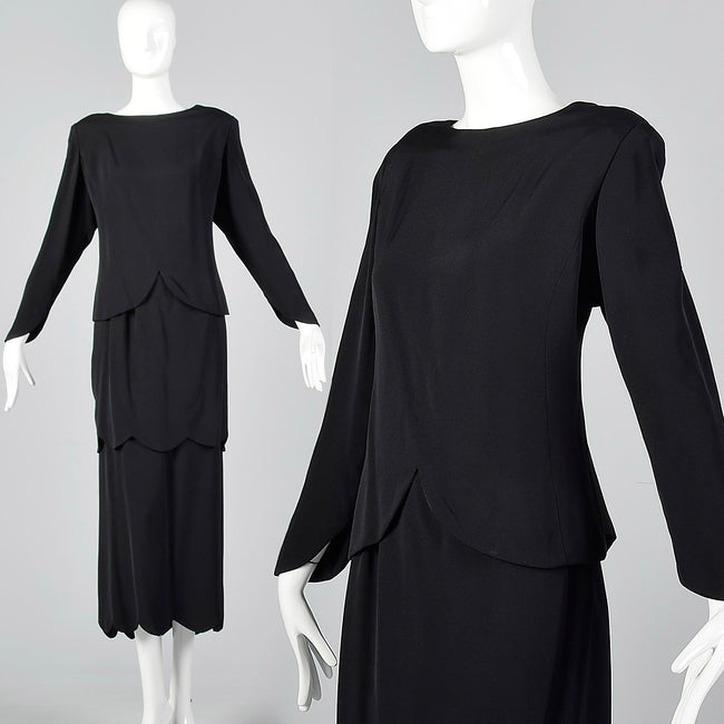1980s Galanos Two Piece Black Dress with Great Layers