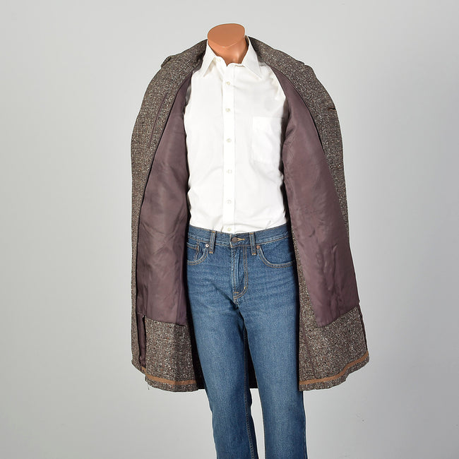 1950s Mens Wool Tweed Overcoat Fall Outerwear Coat