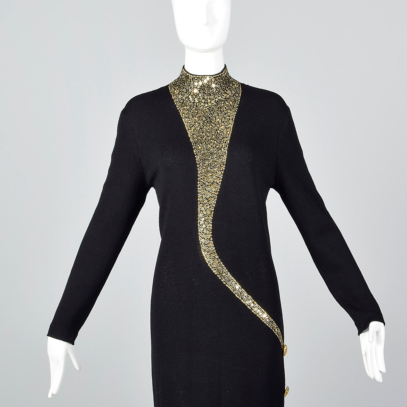 1980s St John Evening Long Black Knit Formal Dress with Gold Sequin Design