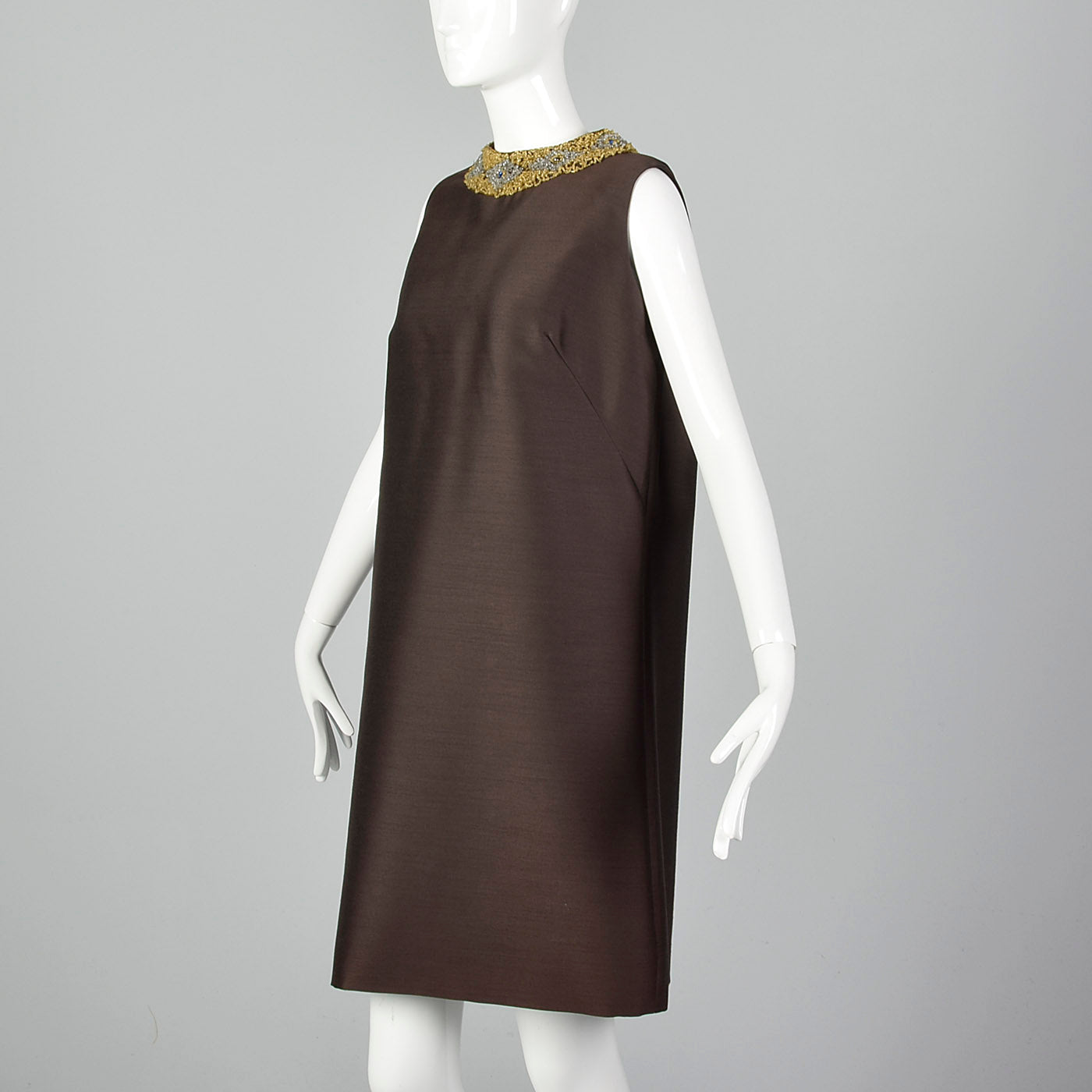 1960s Brown Shift Dress with Beaded Collar