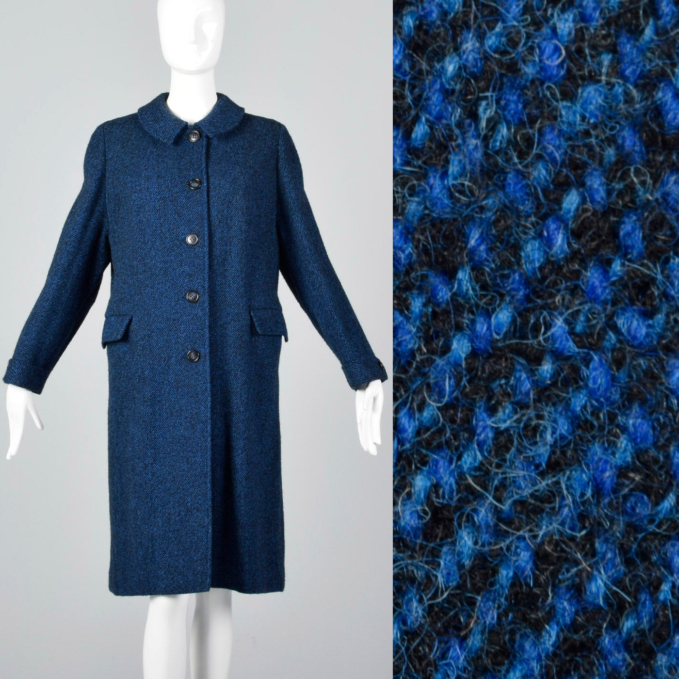 1950s Blue and Black Tweed Coat