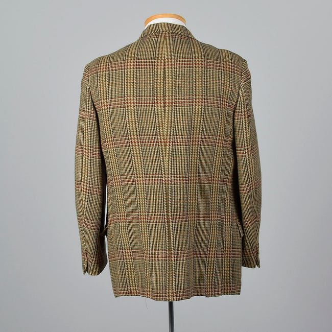 1960s Mens Brown and Red Plaid Tweed Jacket