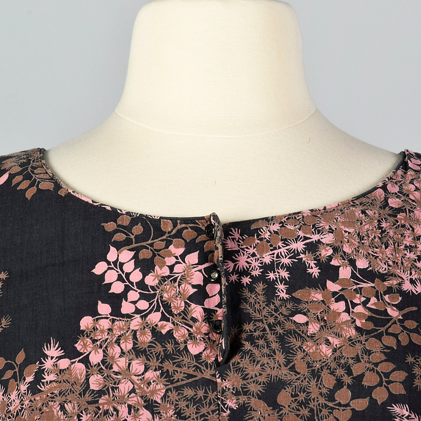 1950s Black and Pink Floral Dress with Drop Waist