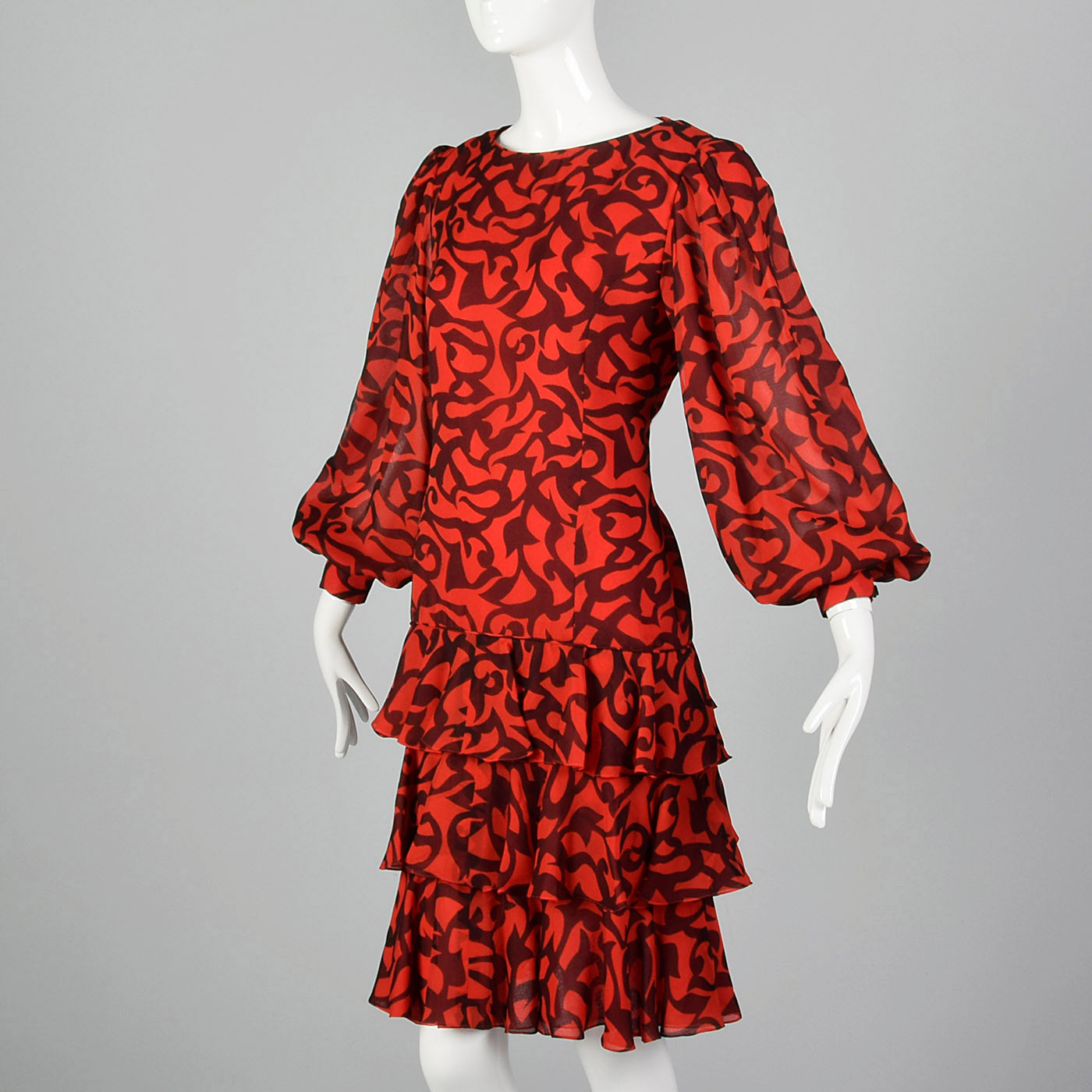 1980s Michael Novarese Red and Black Dress