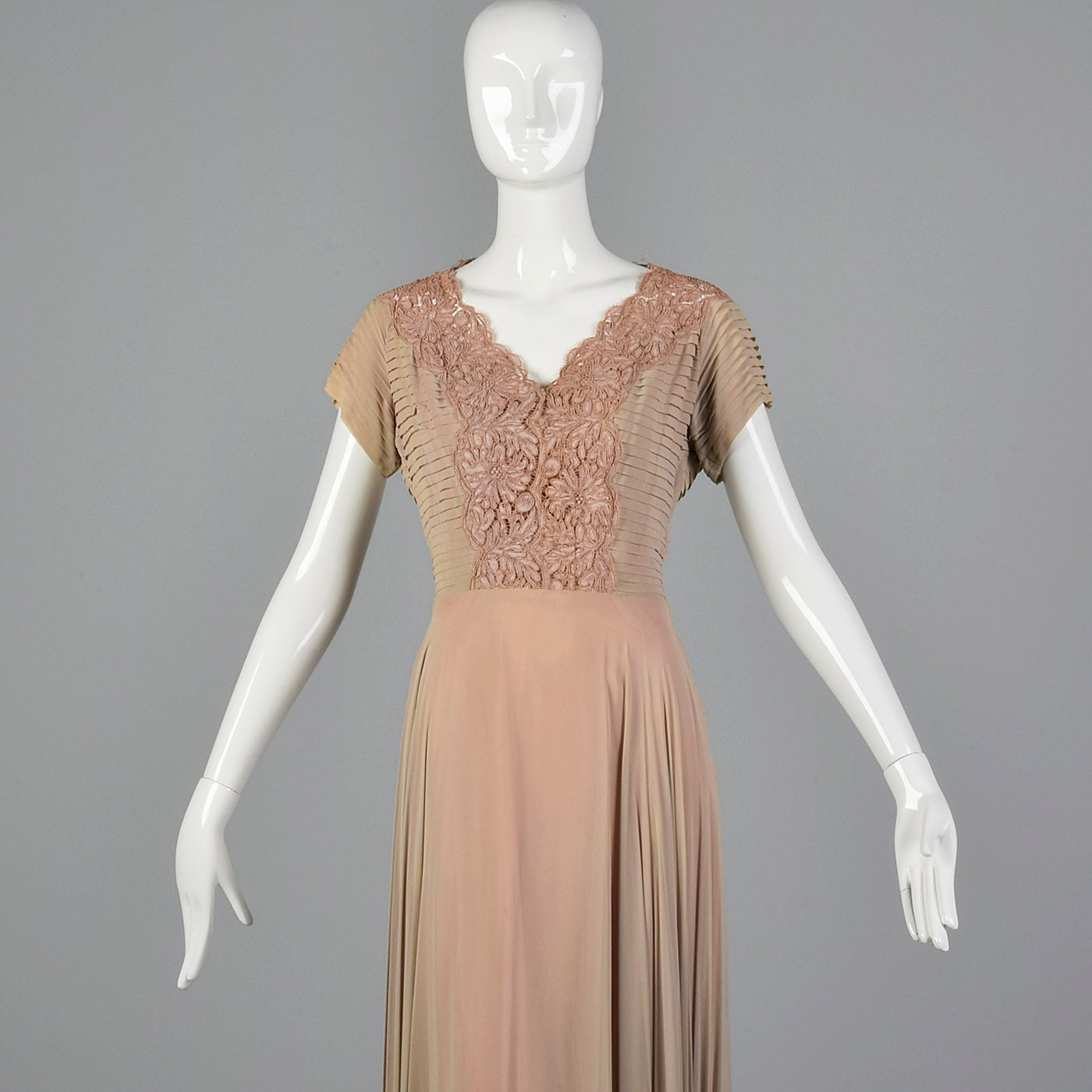 1940s Nude and Pink Layered Evening Dress
