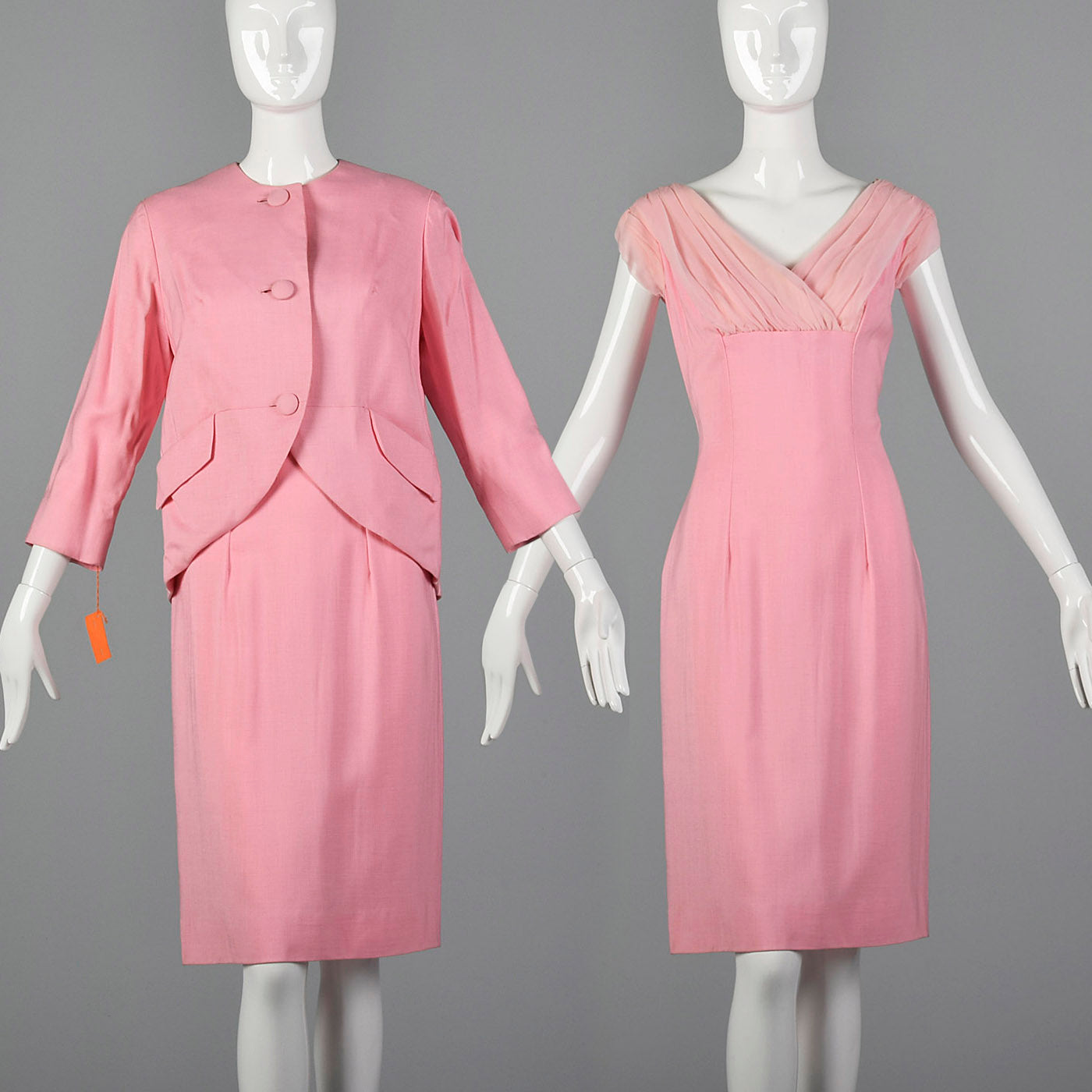 1960s Lilli Diamond Deadstock Pink Wiggle Dress and Jacket Set