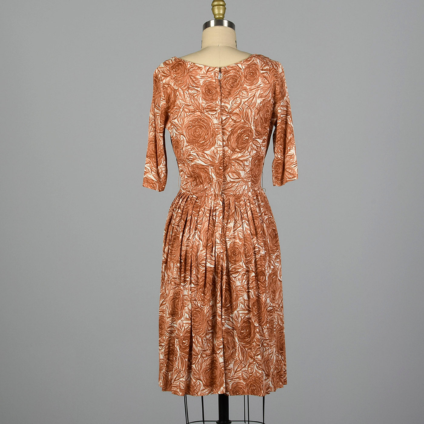 1960s Brown Rose Print Dress