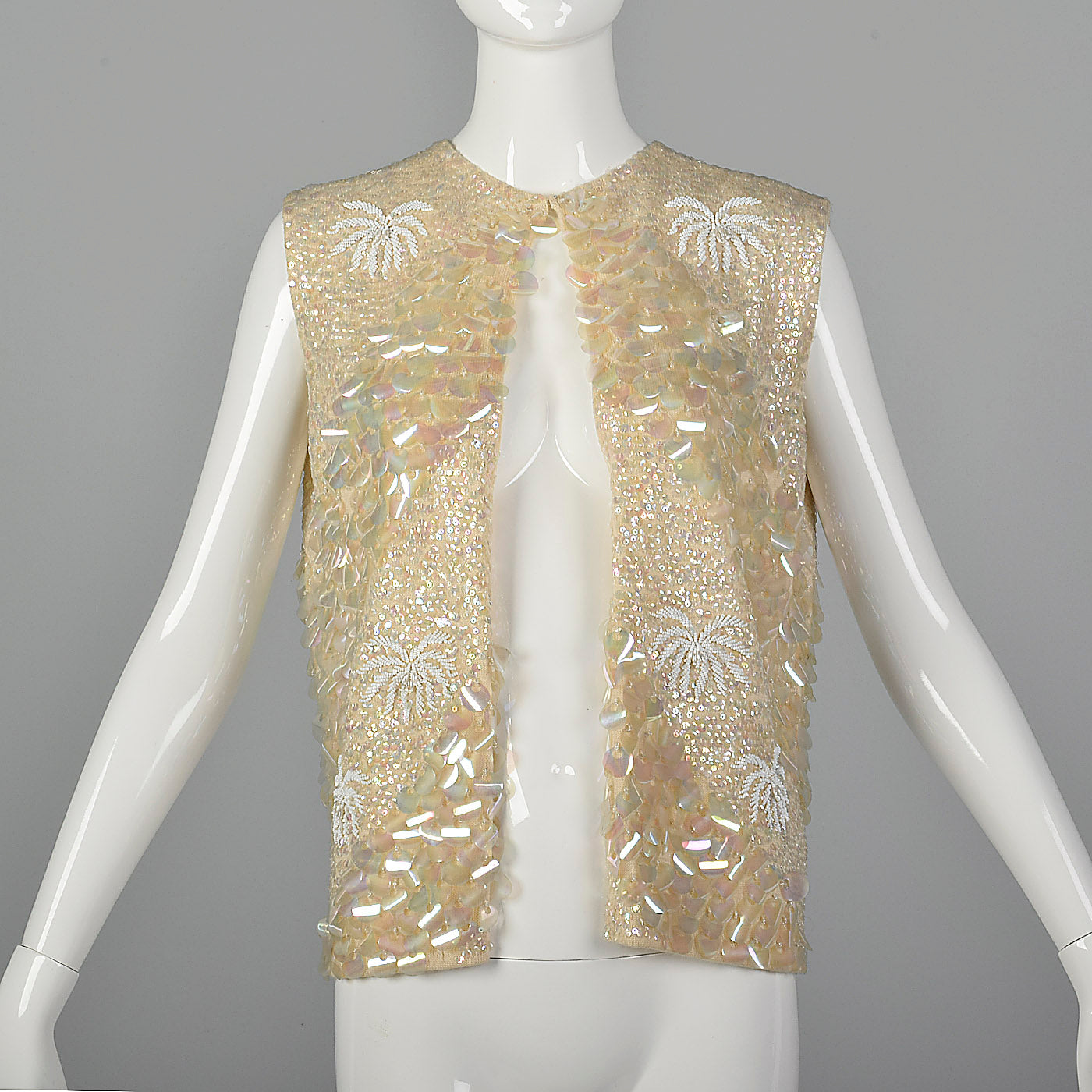 1960s Cream Sequined Sweater Vest