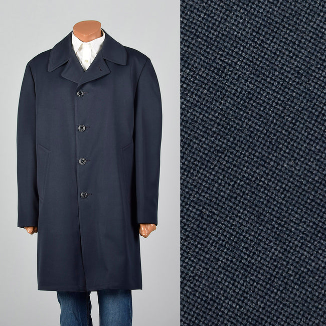 1970s Navy Overcoat with Plaid Liner