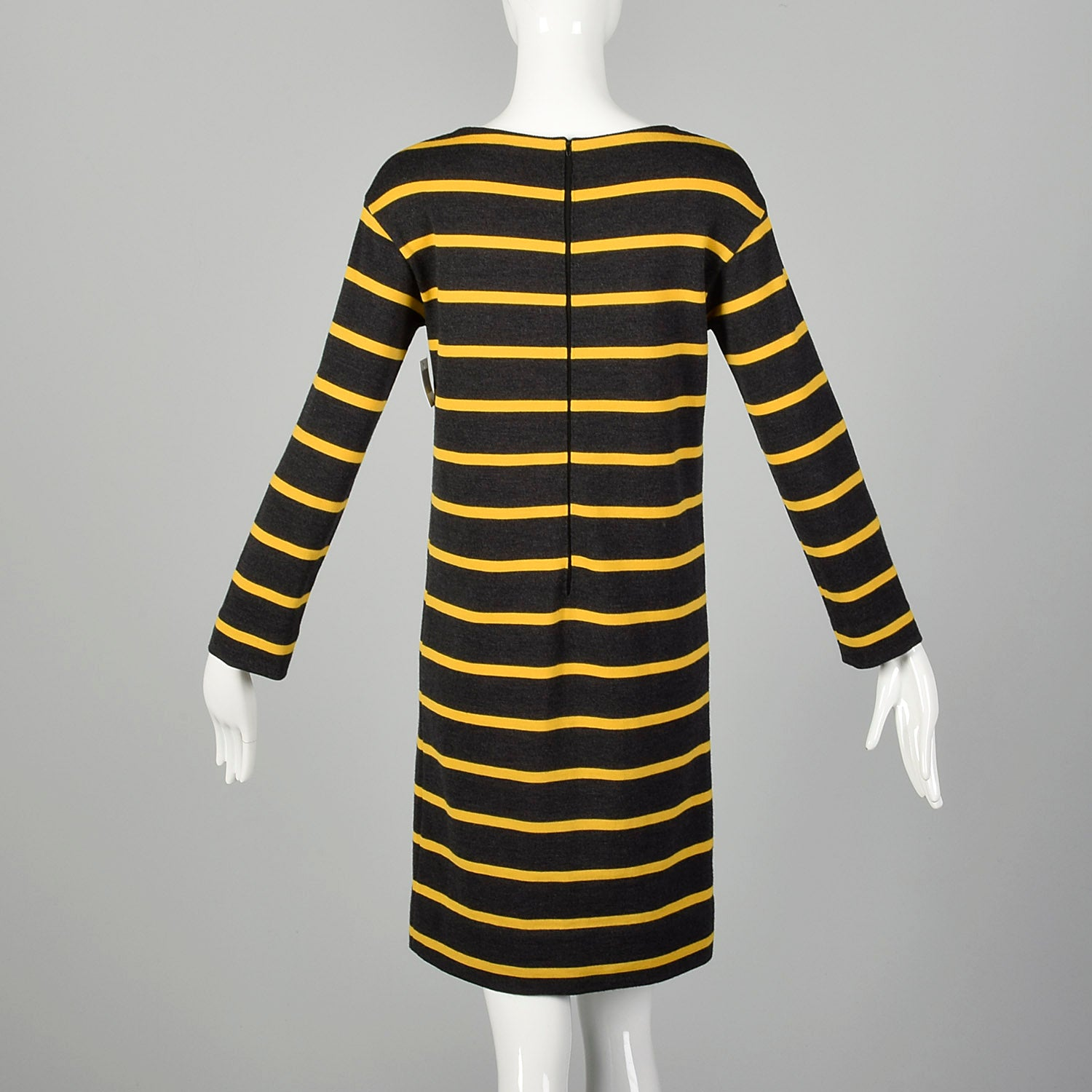 Small 1960s Goldworm Mod Striped Dress Long Sleeve Gray Yellow Knit