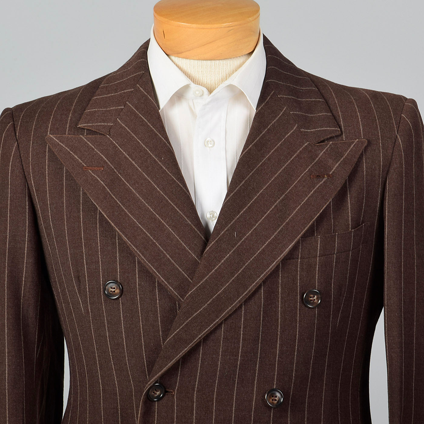 1940s Mens Brown Striped Jacket with Double Breasted Front