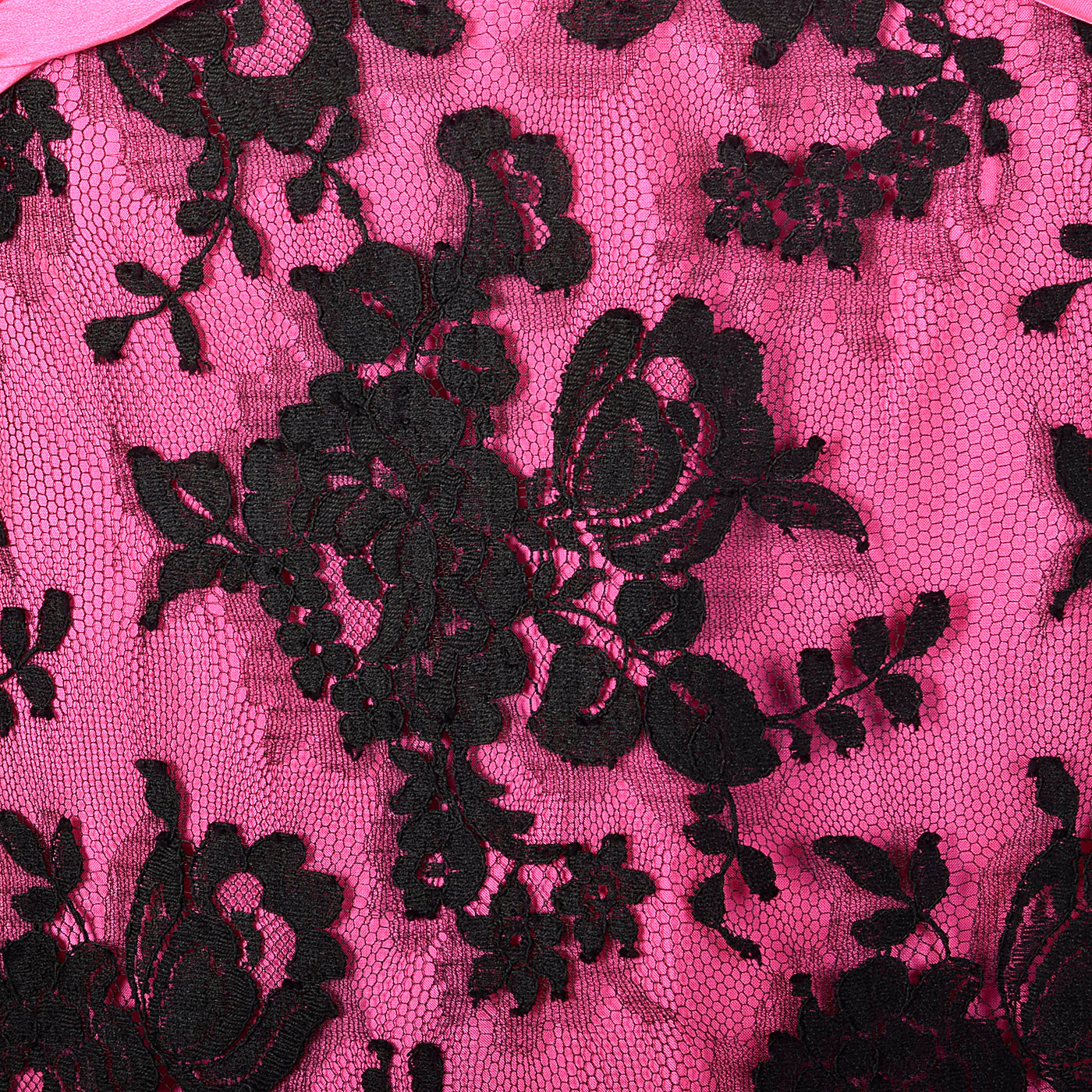 1980s Travilla Hot Pink and Black Lace Dress
