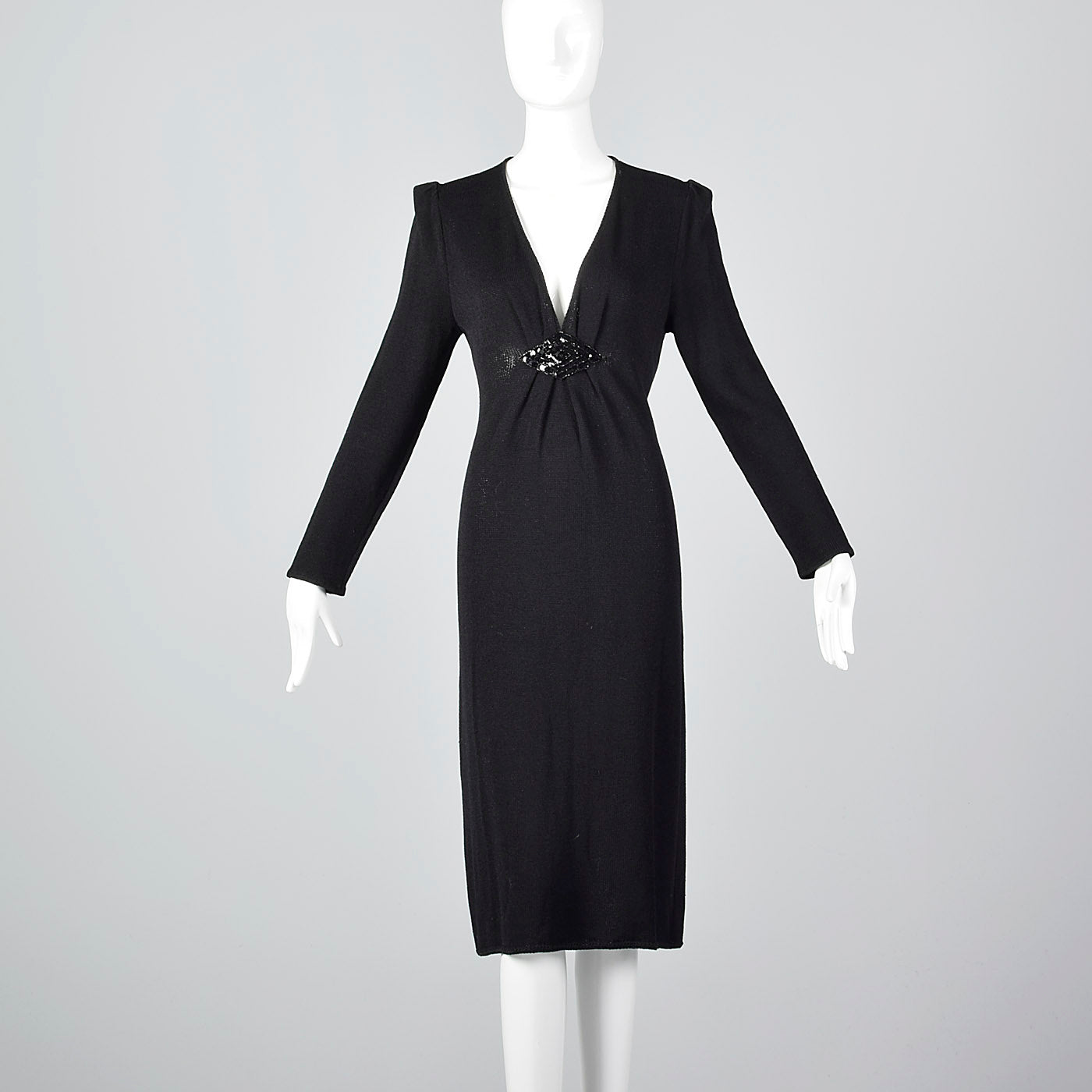 St John Long Sleeve Winter Dress with Plunging Neckline