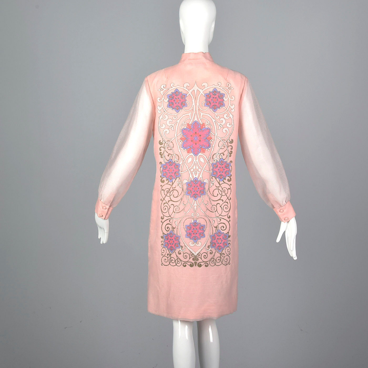 1970s Alfred Shaheen Pink Shift Dress with Sheer Sleeves