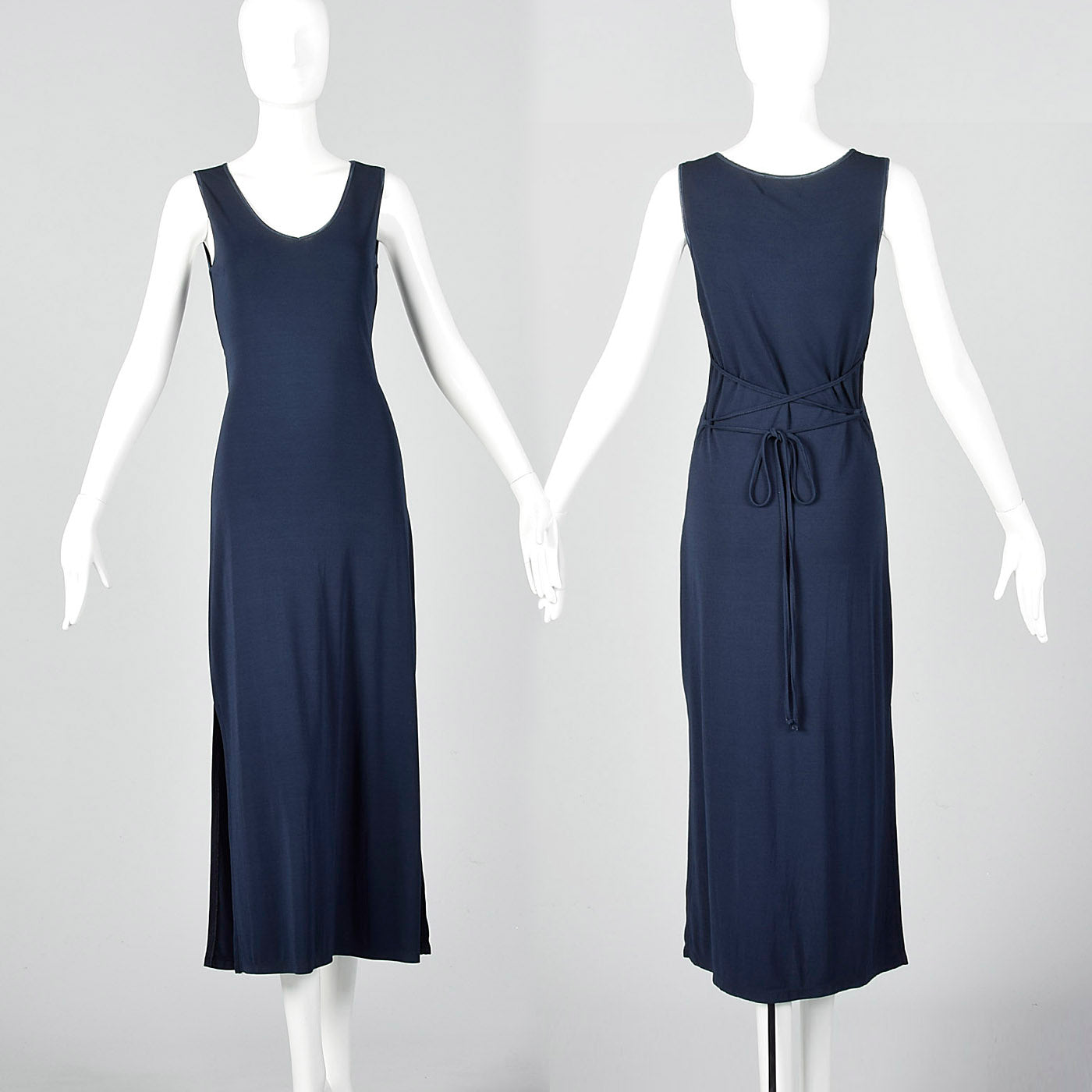 1990s Mary McFadden Maxi Dress with Tie Back Waist