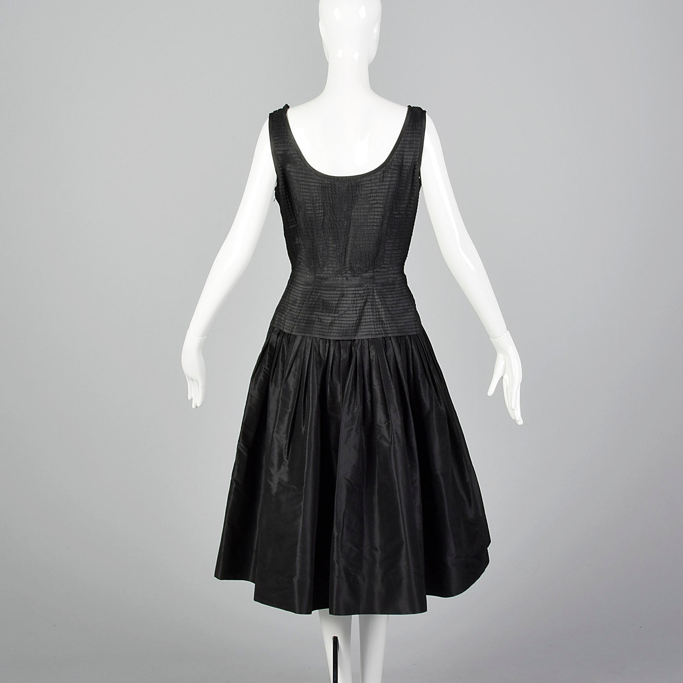 1950s Mollie Parnis Black Dress with Pleated Bodice
