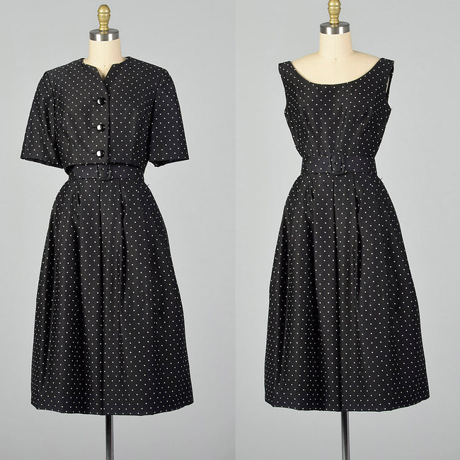 XXS 1950s Adele Simpson Black and White Polka Dot Dress