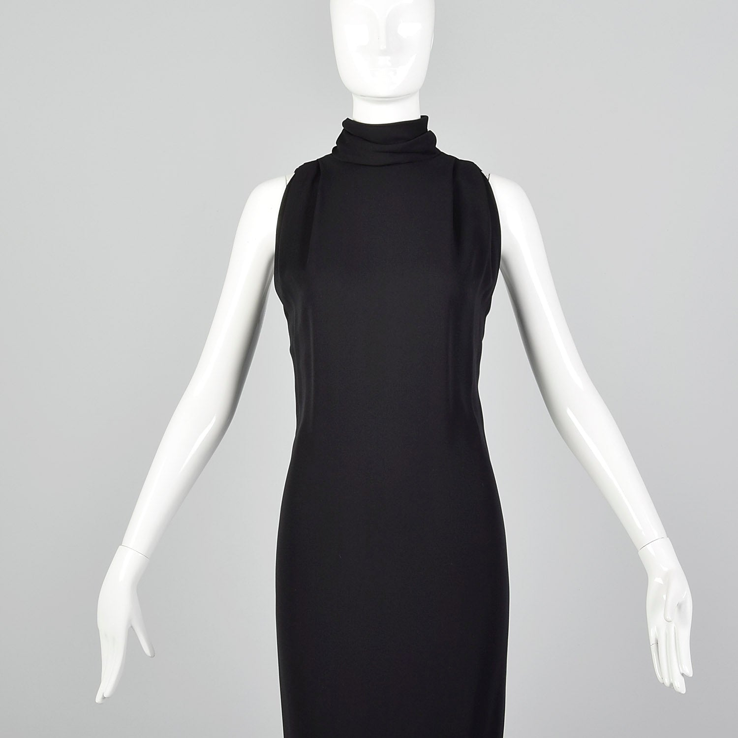 Small Galanos Late 1970s Minimalist Black Pencil Dress
