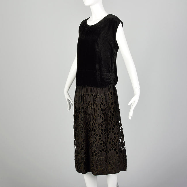 Medium 1920s Black Drop Waist Dress