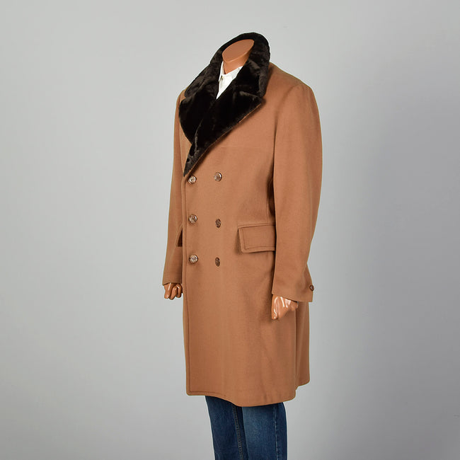 42 Large Men Tan Double Breasted Coat
