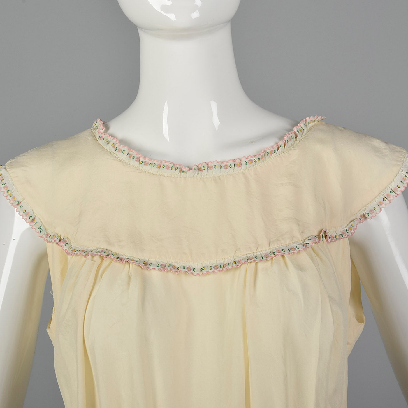 1930s Silk Nightgown with Drawstring Ribbon Waist