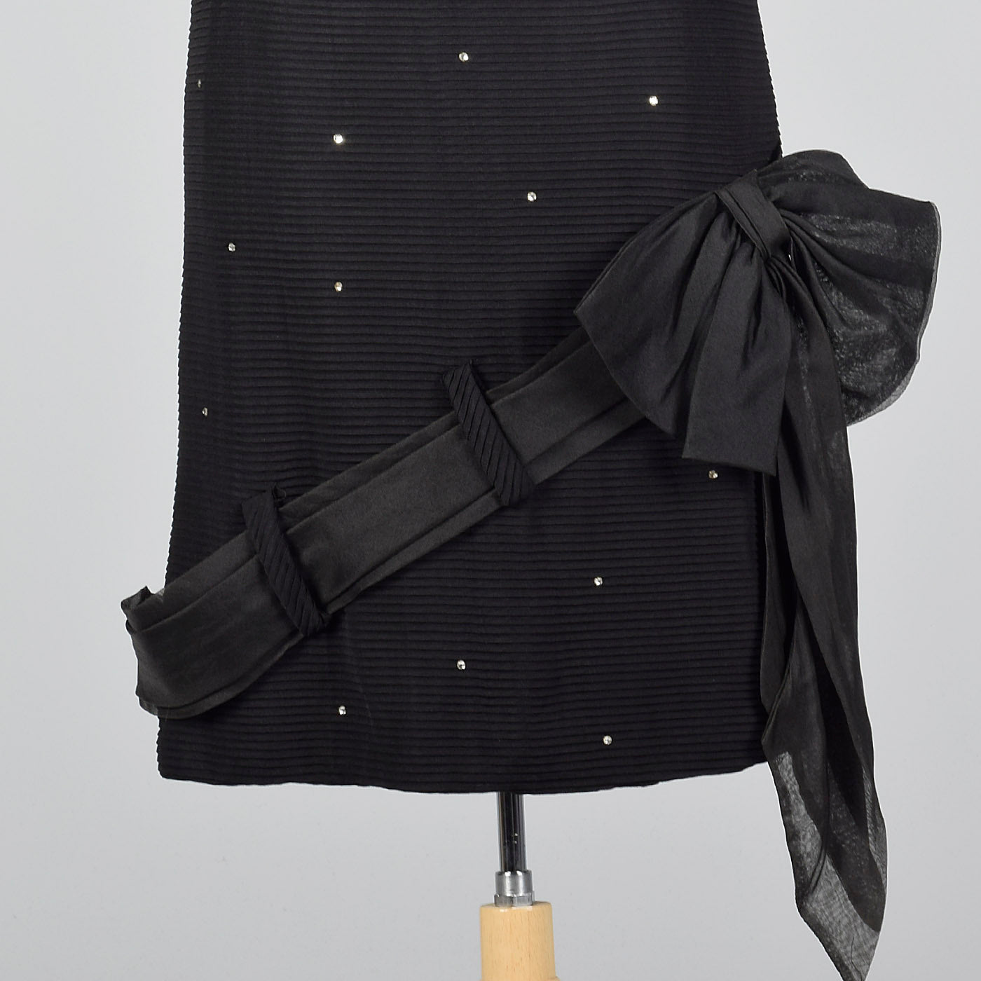 1950s Black Dress with Rhinestones and Asymmetric Bow