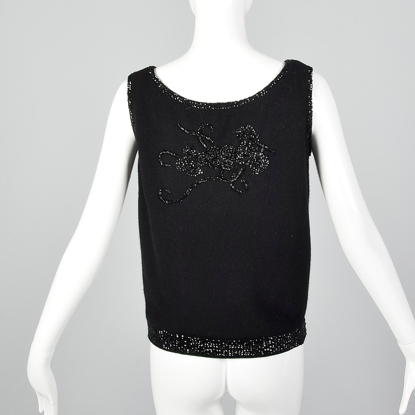 1960s Black Sleeveless Sweater with Beading