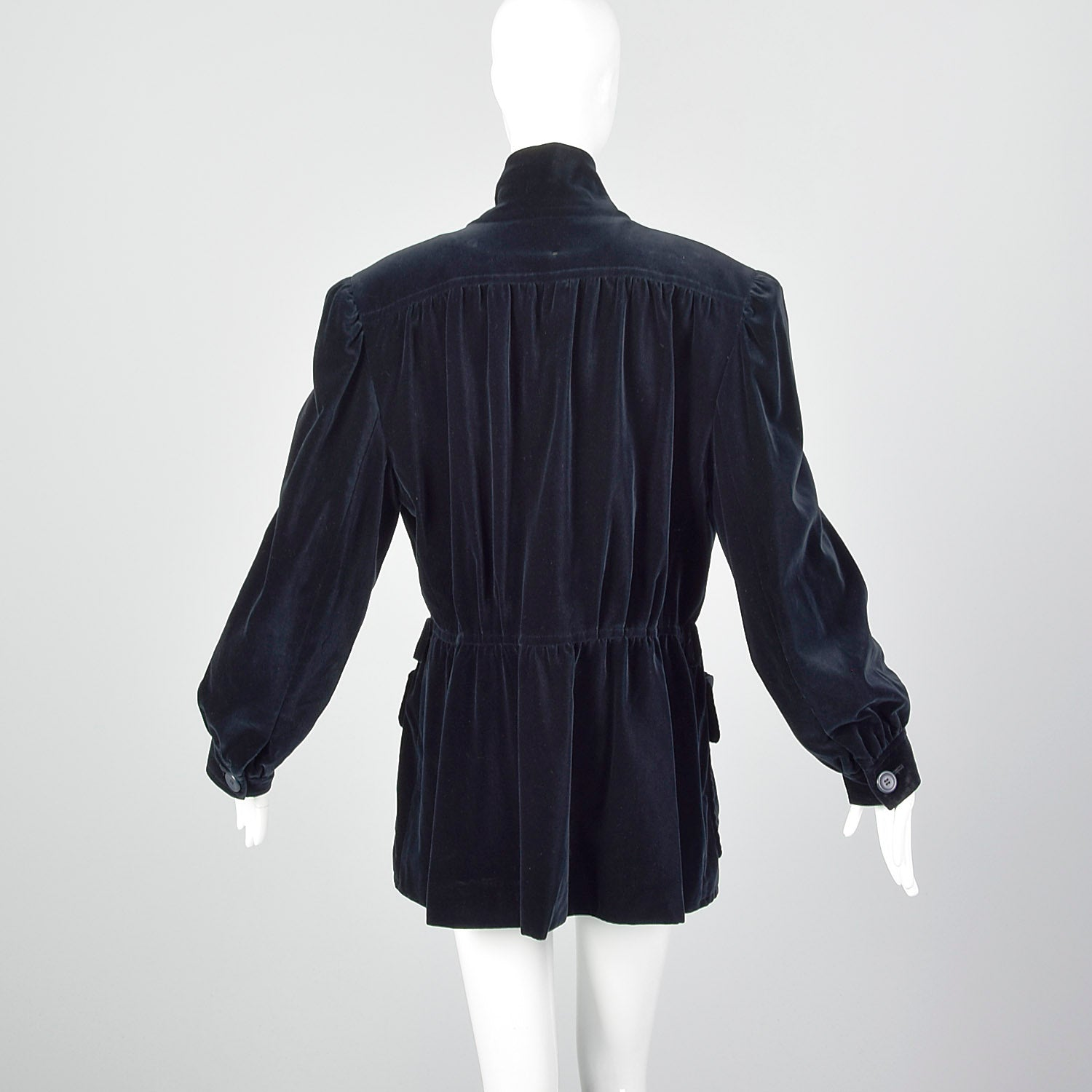 XL Escada 1980s Navy Blue Velvet Parka Coat