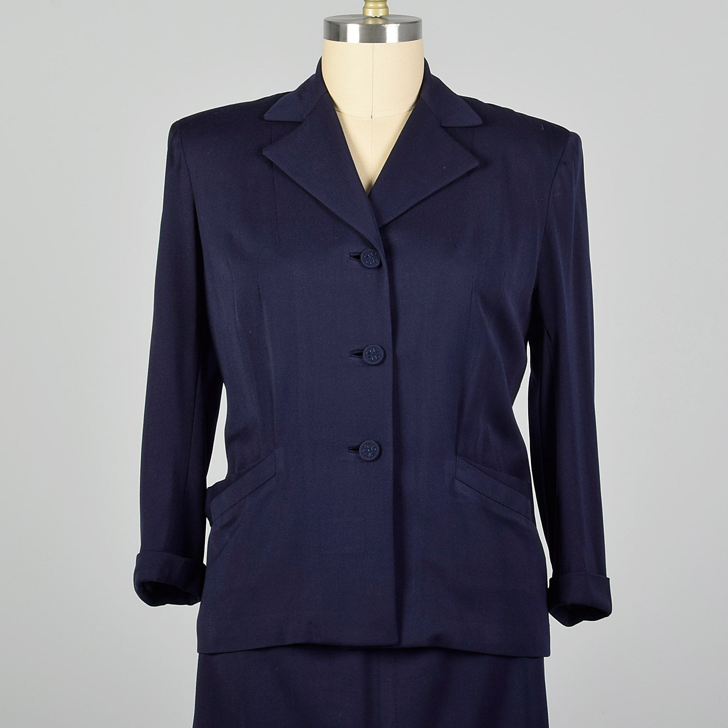 XXL 1950s Navy Gabardine Skirt Suit