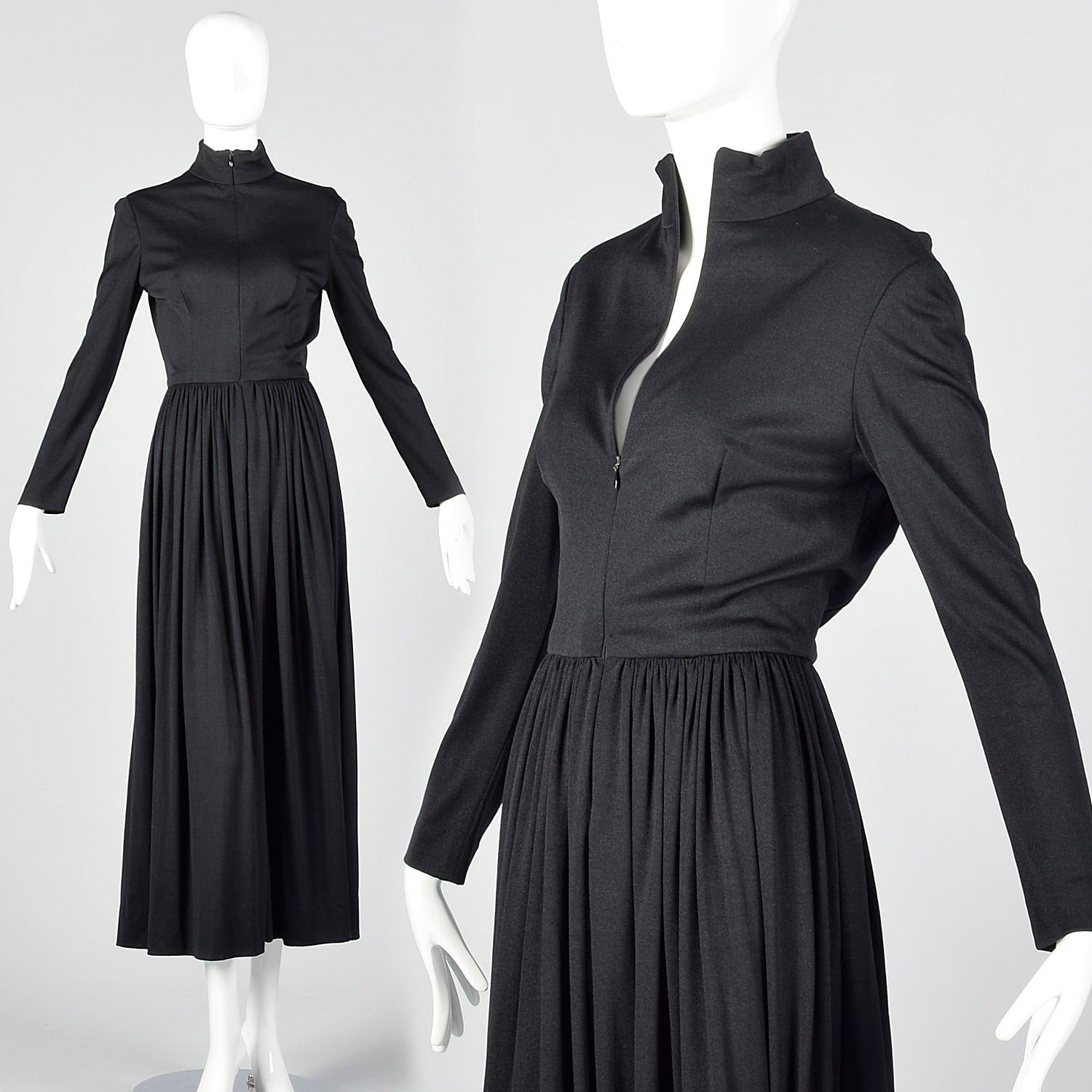 Small 1970s Black Zip Front Maxi Dress