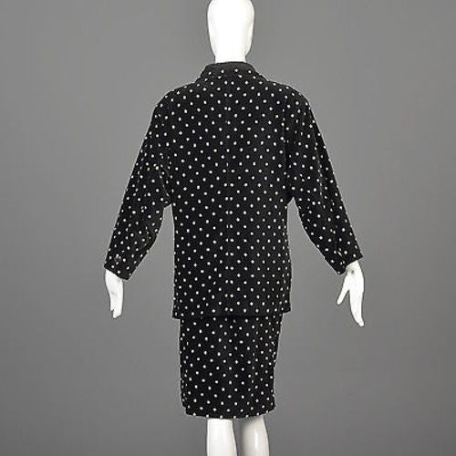1980s Gianni Versace Skirt Oversized Blazer & Wrap Skirt in Black Velvet with White Polkadots