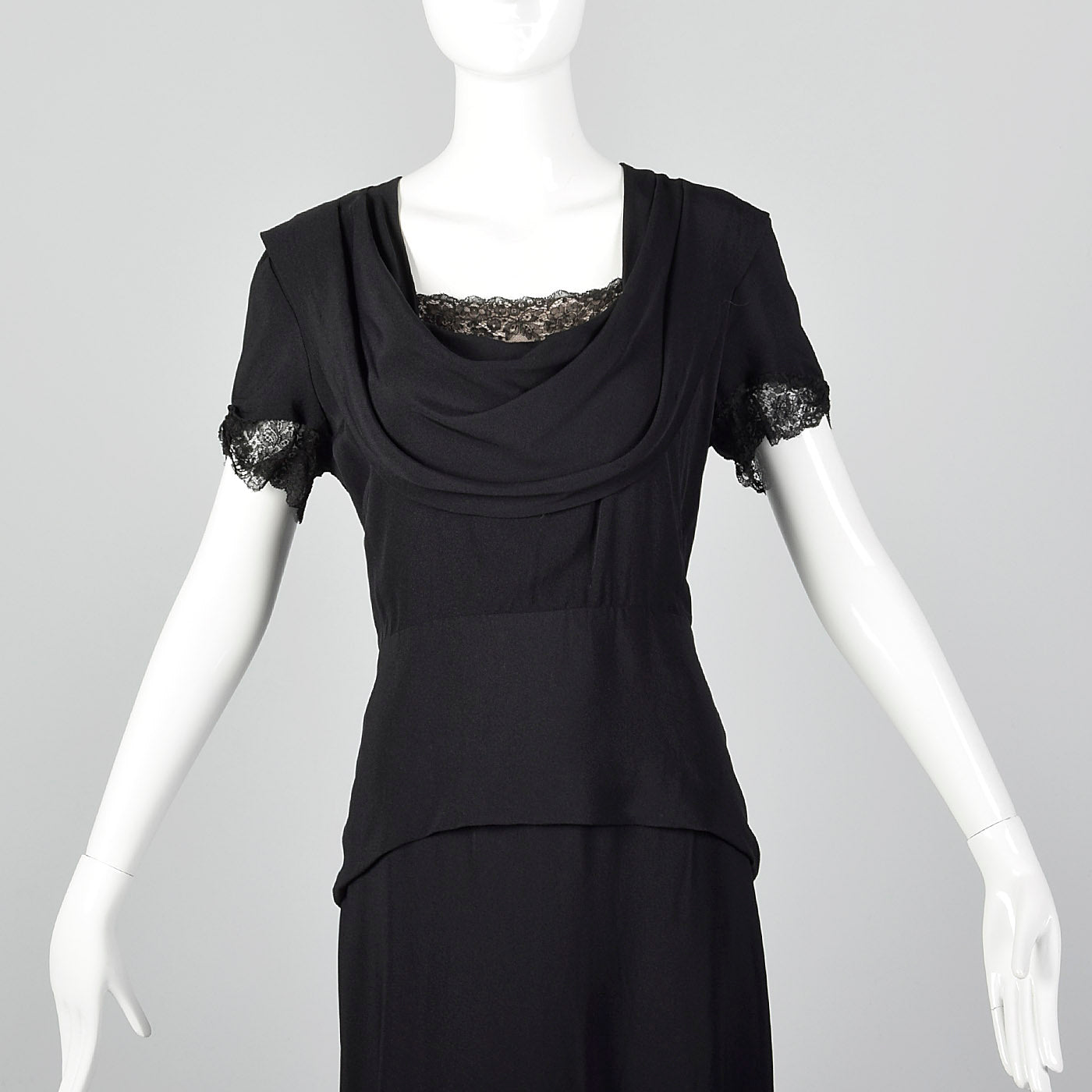 1940s Black Peplum Dress with Lace Collar and Cuffs